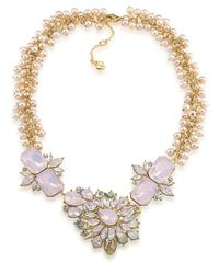 Carolee | Metallic Gemstone Garden Goldtone Faux Pearl And Stone Necklace | Lyst