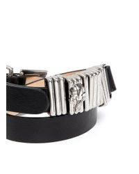 Alexander McQueen - Black Double Wrap Skull Ring Leather Bracelet - Lyst
