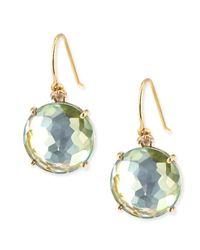 KALAN by Suzanne Kalan - 14K Yellow Gold Wire Drop Earrings In Green Topaz - Lyst