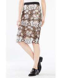 BCBGMAXAZRIA - White Olly Embroidered Lace Midi Skirt - Lyst