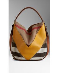 620a452dae7 Burberry Medium Leather Chevron Canvas Check Hobo Bag - Lyst