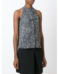 Tory Burch | Black Floral Band Collar Blouse | Lyst
