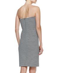 Nicole Miller Artelier - Black Strapless Striped Sheath Dress - Lyst