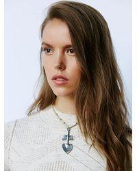 Free People - White Nila Leather Cross Choker - Lyst