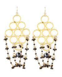 Devon Leigh - Black Beaded Golden Chandelier Earrings - Lyst