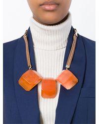 Marni - Brown Three Stone Pendant Necklace - Lyst