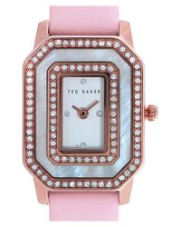 Ted Baker | Pink Double Crystal Leather Strap Watch | Lyst