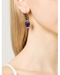 Rebecca - Elizabeth Purple Stone Drop Earrings - Lyst