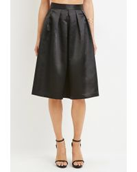 Forever 21 | Black Contemporary Sateen Pleated Midi Skirt | Lyst