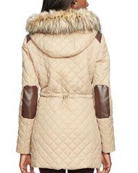 Ralph Lauren | Beige Lauren Quilted Faux Fur Trim Jacket | Lyst