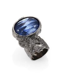Saint Laurent | Blue Arty Ovale Ring | Lyst