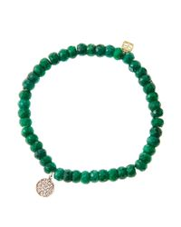 Sydney Evan - 8mm Faceted Green Beaded Bracelet W/14k Gold Diamond Evil Eye Charm - Lyst