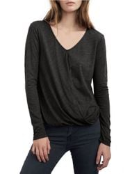 Velvet By Graham & Spencer | Black Draped-front Blouse | Lyst