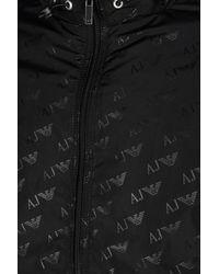 Armani Jeans - Black Blouson In Logo Patterned Technical Fabric for Men - Lyst
