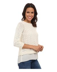 Lucky Brand - White Mixed Media Pullover - Lyst