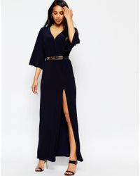 ASOS | Blue Kimono Maxi Dress With Gold Belt | Lyst