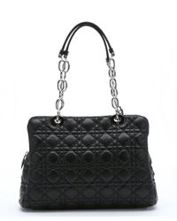 Dior - Black Cannage Quilted Lambskin Chain Shoulder Bag - Lyst