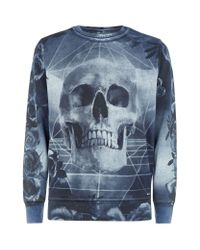 DIESEL - Blue Floral Skull Sweatshirt for Men - Lyst