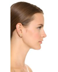 Sam Edelman Metallic Pave Spike Ear Crawlers - Clear/gold