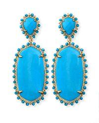 Kendra Scott Blue Parsons Clipon Earrings Turquoise