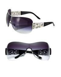 BVLGARI | Black Rimless Shield Sunglasses | Lyst