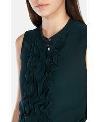 Karen Millen | Green Ruffle Georgette Sleeveless Blouse | Lyst