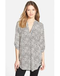 Lush - Gray 'perfect' Roll Tab Sleeve Tunic - Lyst