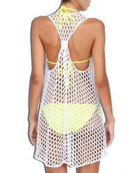MILLY | White Cabana Honeycomb Mesh Drapey Tunic | Lyst