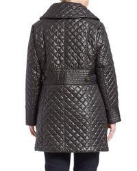 Via Spiga | Black Plus Envelope-collared Quilted Coat | Lyst