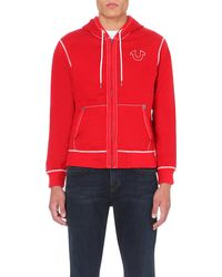 True Religion | Red Stitching-detail Jersey Hoody for Men | Lyst
