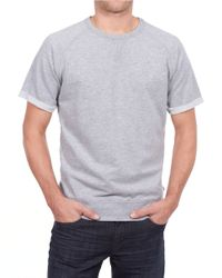 William Rast | Gray Folded-cuff T-shirt for Men | Lyst