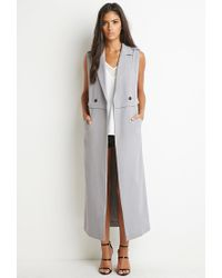Forever 21 | Gray Double-breasted Longline Vest | Lyst