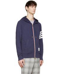 Thom Browne - Blue Navy Classic Zip_Up Hoodie for Men - Lyst