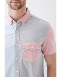 Forever 21 - Blue Colorblocked Cotton Oxford Shirt You've Been Added To The Waitlist for Men - Lyst
