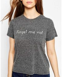 ASOS - T-shirt With Forget Me Not Embroidery - Black Marl - Lyst