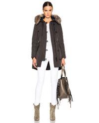 Moncler | Green Arriette Parka With Fox Fur Hood | Lyst