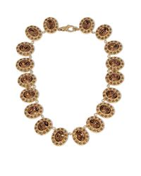 Givenchy - Brown Necklace In Gold-tone Brass And Crystal - Lyst