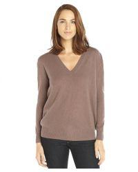 Autumn Cashmere - Soba Brown V-neck Boyfriend Cashmere Sweater - Lyst