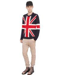 Balmain | Blue Uk Flag Destroyed Linen Sweater for Men | Lyst