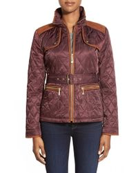 Vince Camuto | Purple Faux Suede Trim Belted Quilted Jacket | Lyst