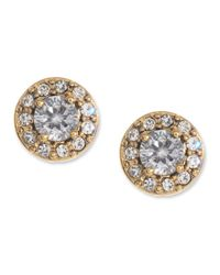 Betsey Johnson | Metallic Crystal Encrusted Stud Earrings | Lyst
