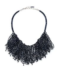 Marina Rinaldi - Blue Lynette Beaded Bib Necklace - Lyst