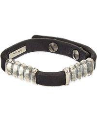 Rick Owens | Black Corregated Leather Bracelet | Lyst