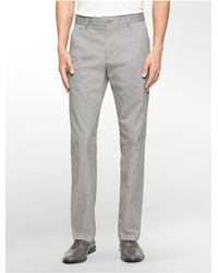 Calvin Klein - Gray Straight Fit Sateen Chino Pant for Men - Lyst