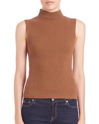 Theory - Orange Ninsy Evian Mockneck Stretch Wool Top - Lyst