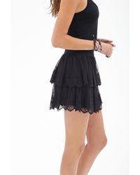 Forever 21 - Black Embroidered Mini Skirt - Lyst