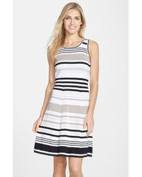 Marc New York | Black Stripe Cotton Fit & Flare Dress | Lyst