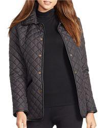 Lauren by Ralph Lauren | Black Faux Leather-trimmed Quilted Coat | Lyst