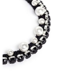 Joomi Lim | Black Crystal Pearl Cotton Braid Necklace | Lyst