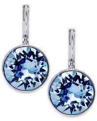 Swarovski | Blue Rhodium-Plated Light Sapphire Crystal Drop Earrings | Lyst